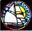 stained glass ship window