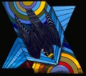 peregrine falcon in stained glass